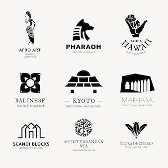 Illustrazione vettoriale del logo bw per il set di branding