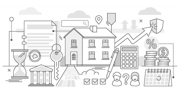 Ипотечная иллюстрация. bw изложил процесс покупки недвижимости в банке.