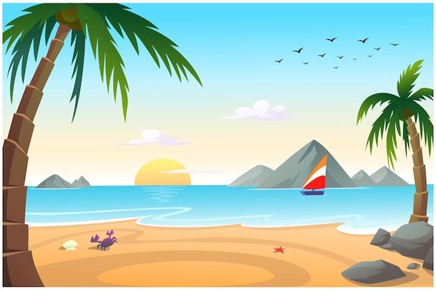바다 옆에는 코코넛 나무가있는 모래 해변이있어 밝은 아침 분위기입니다.