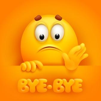 Bye-bye. cute emoji cartoon character on yellow backround.