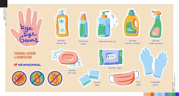 바이 바이 세균 스티커 세트. 개인 위생 및 소독 제품의 그림.