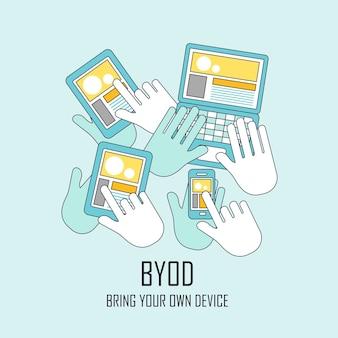 Byod는 평평한 얇은 선 스타일로 자신의 장치를 가져옵니다.