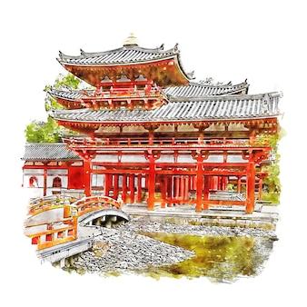 Храм бёдоин япония акварельный эскиз рисованной иллюстрации