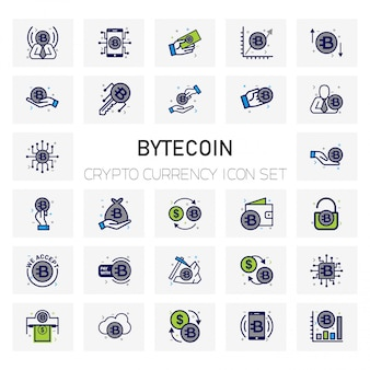 Bytecoin crypto currency icons set