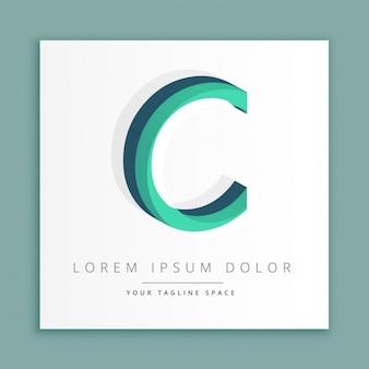 文字cで3d抽象的なスタイルのロゴ