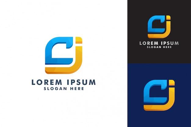 Шаблон логотипа буквы c и j