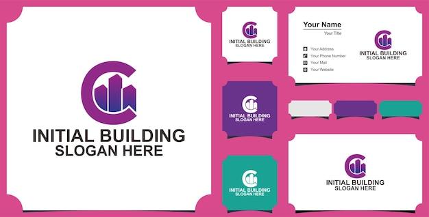 Cの建物の文字のロゴのデザインコンセプト