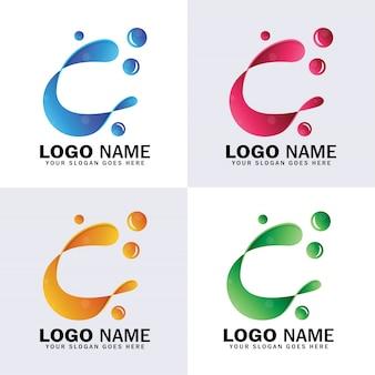 文字cの抽象的なロゴ、水の泡のロゴと最初のc