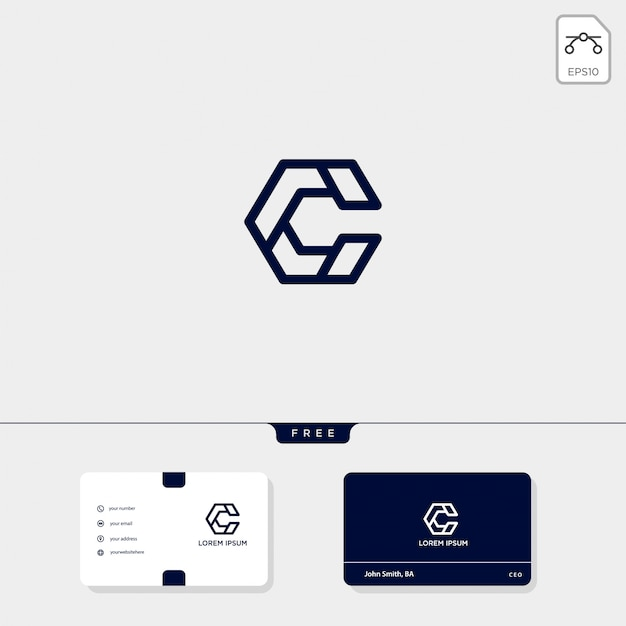 初期c、ccアウトラインクリエイティブロゴテンプレートと名刺テンプレートには次のものが含まれます