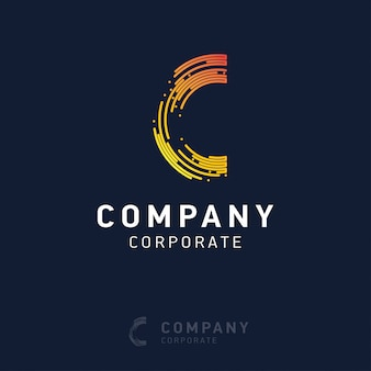 C company logo design with visiting card vector