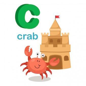 イラスト隔離されたアルファベットの手紙c crab.vector