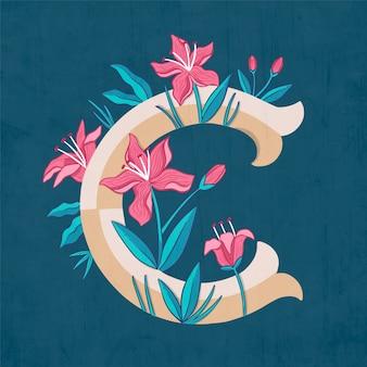 C creative floral letter of alphabet