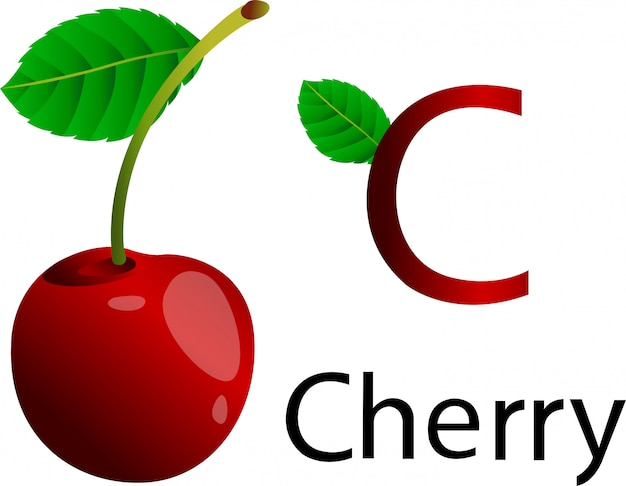 C font with cherry