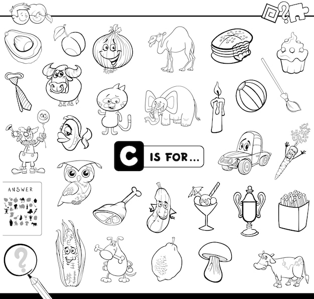 C is for educational game coloring book
