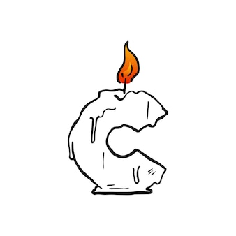 C letter candle birthday party uppercase mark fire light logo vector icon illustration