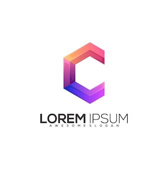 C letter colorful logo illustration