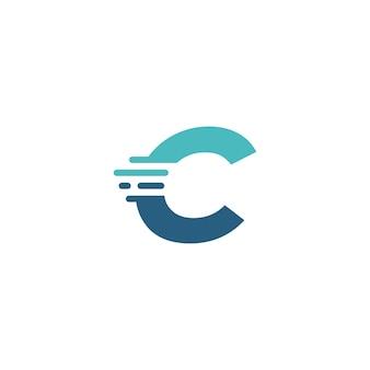 C文字ダッシュ小文字ハイテクデジタル高速クイック配信ムーブメント青いロゴベクトルアイコンイラスト
