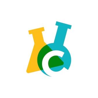 C letter lab laboratory glassware beaker logo vector icon illustration