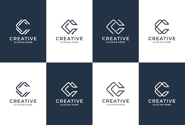 C letter logo collection. initial c  logo inspiration. lettering monogram in elegant style.