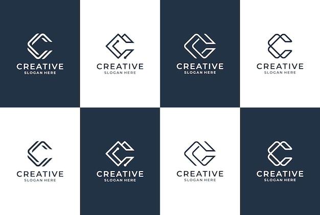 C文字のロゴコレクション。最初のcロゴのインスピレーション。エレガントなスタイルのレタリングモノグラム。