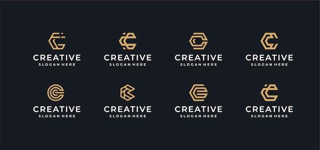 C letter logo design bundle in line art style