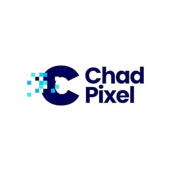 C文字小文字ピクセルマークデジタル8ビットロゴベクトルアイコンイラスト