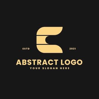 C letter luxurious gold geometric block concept logo vector icon illustration