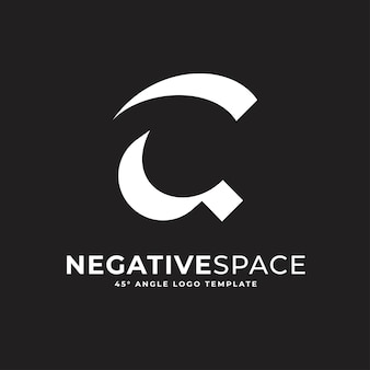 C文字ネガティブスペース幾何学的なアルファベットマークロゴベクトルアイコンイラスト