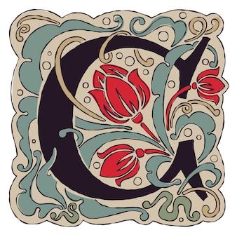Буква c старинные цвета античный готический первоначальный логотип.