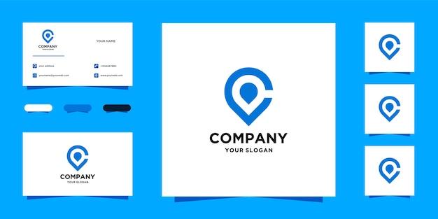 C шаблон логотипа местоположения и визитная карточка