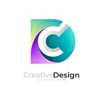 C logo and letter d design combination, 3d style
