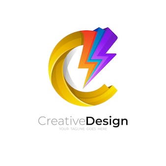 C logo and thunder, letter v logo with voltage icon