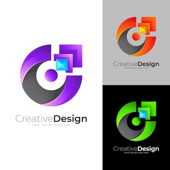 C logo with modern design vector, 3d colorful icons