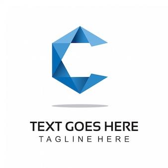 C modern origami logo style