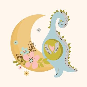 C moon dino hand drawn flat design grunge style cartoon prehistoric animal cute vector illustration apparel print