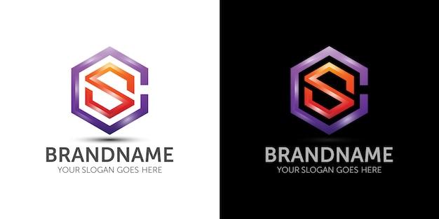 文字c文字sカラフルなロゴのテンプレートブランドのアイデア