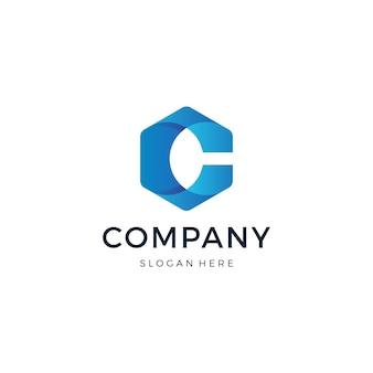 文字cの六角形のロゴデザイン