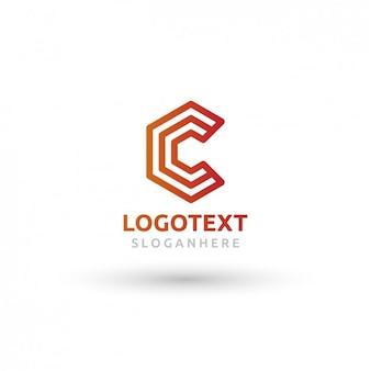 C形状の幾何学的な赤とオレンジのロゴ
