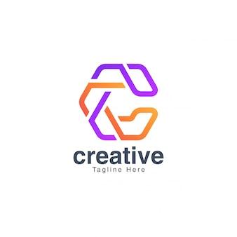 カラフルな文字cロゴデザインベクトルテンプレート