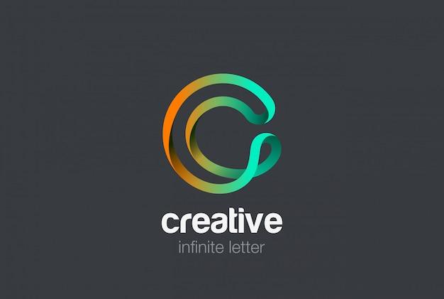 Буква c бесконечной лентой дизайн логотипа.