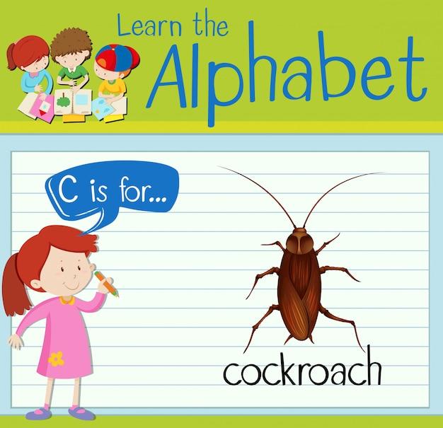 フラッシュカード文字cはゴキブリのためのものです