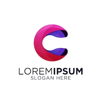 カラフルな文字cグラデーションのロゴのテンプレート