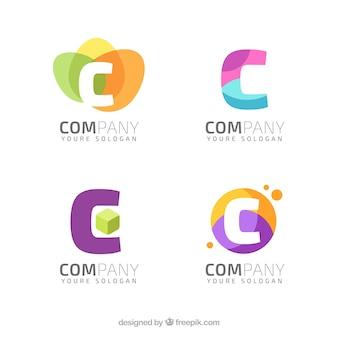 文字「c」の様々な抽象的な近代的なロゴ