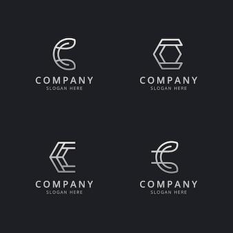 Шаблон логотипа с монограммой инициалов линии c в серебряном стиле для компании