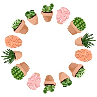 ヒッジ鉢植えの多肉植物とヒマラヤの塩ランプのかわいい花輪飾りフレームデザイン。 c