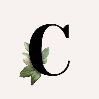 植物のフォント文字c