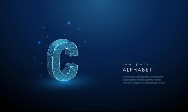 Абстрактное письмо c. низкий поли стиль дизайна.