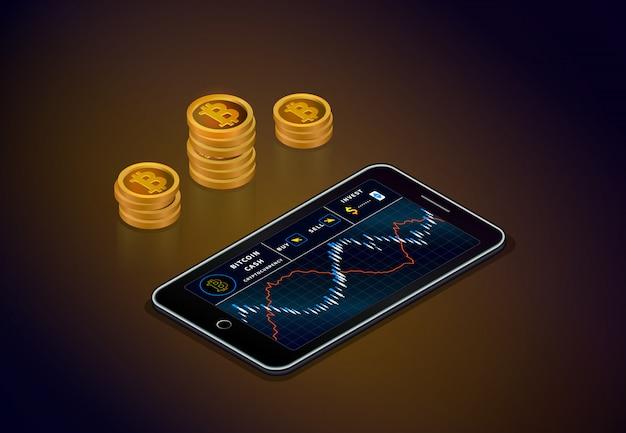 Криптовалютный фондовый рынок онлайн. смартфон с биткойной денежной диаграммой золото биткойн наличными c