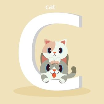Персонаж милый кот сидит на большой шрифт c