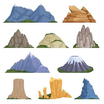 ロッキー山脈。火山岩の雪の屋外登山とハイキングのためのさまざまな種類の救済c